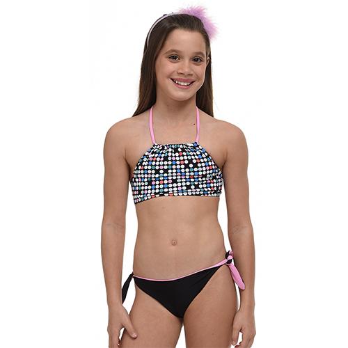 Παιδικό μαγιώ 48034-Μαύρο/Κοραλλί Μαγιώ Κορίτσι 48034