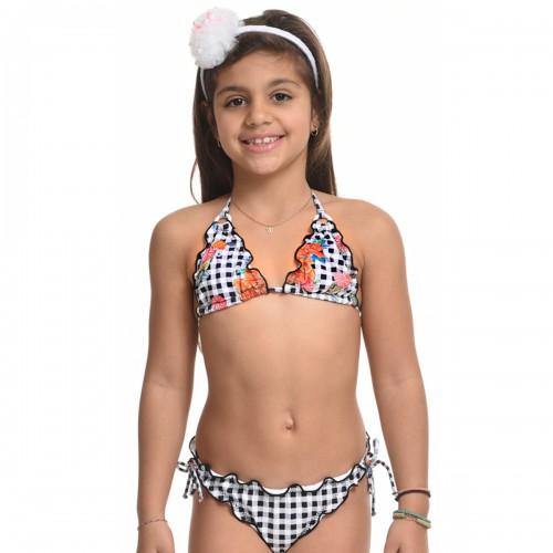 Παιδικό μαγιώ 49117-Ασπρο/Μαυρο Μαγιώ Κορίτσι 49117