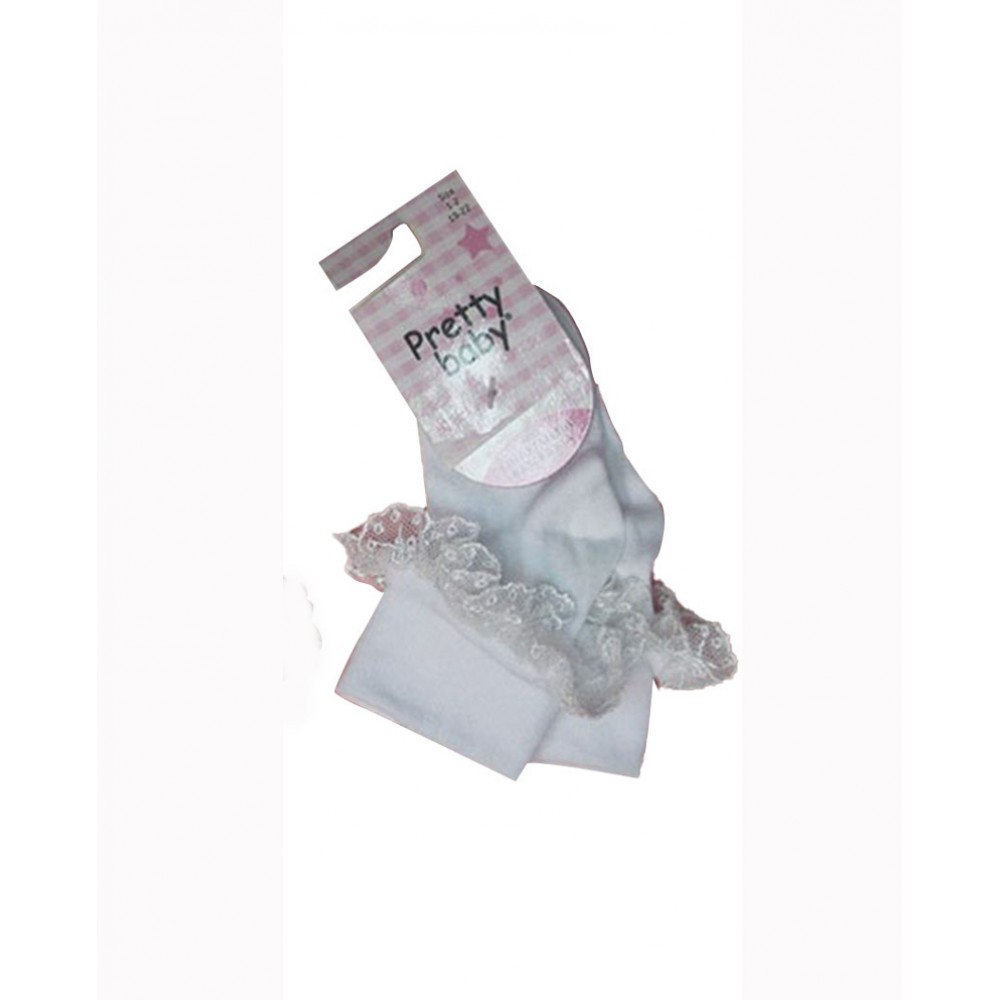 Κάλτσα Bebe Με Δαντέλα Pretty Baby -Λευκό
