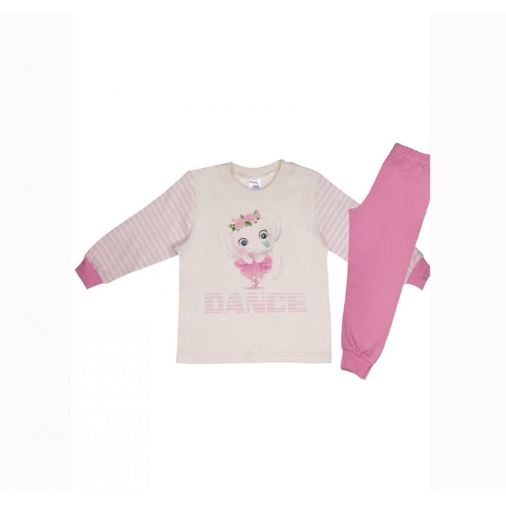 """Παιδική Πιτζάμα pretty Baby """"Dance""""- Κρέμ/Ροζ"""